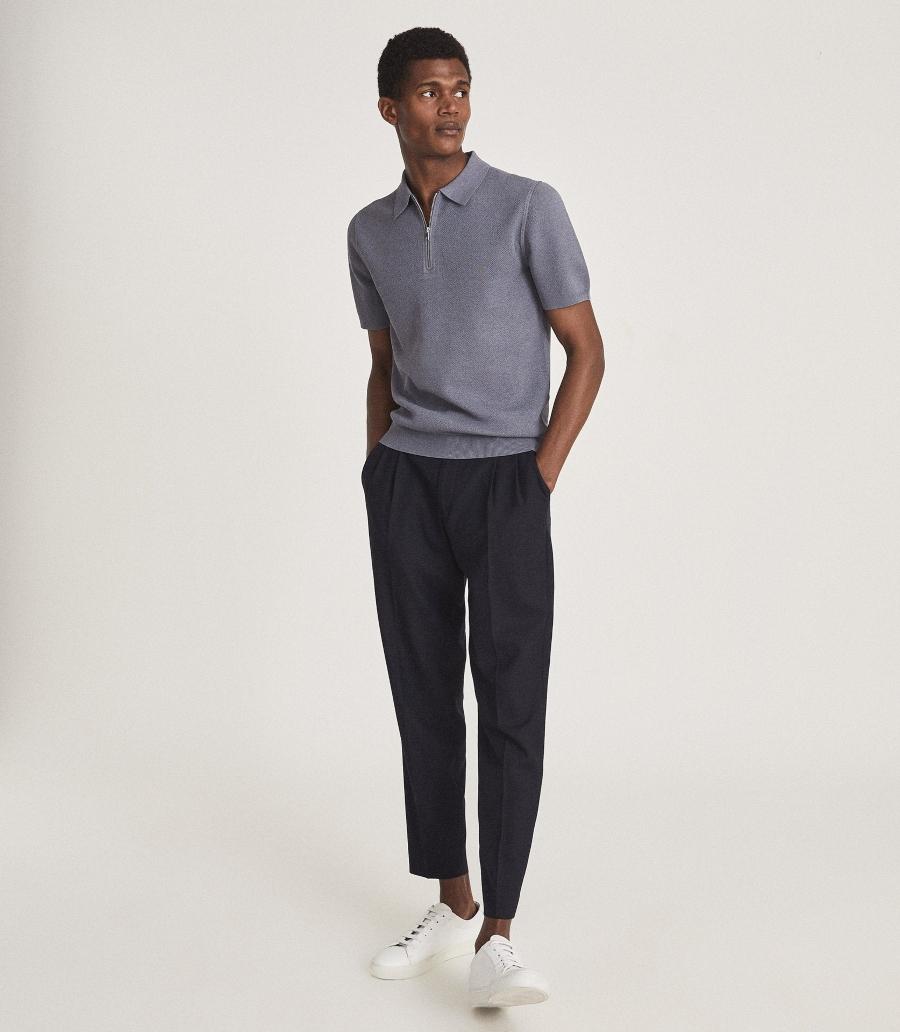Textured Zip Neck Polo Shirt Airforce Blue