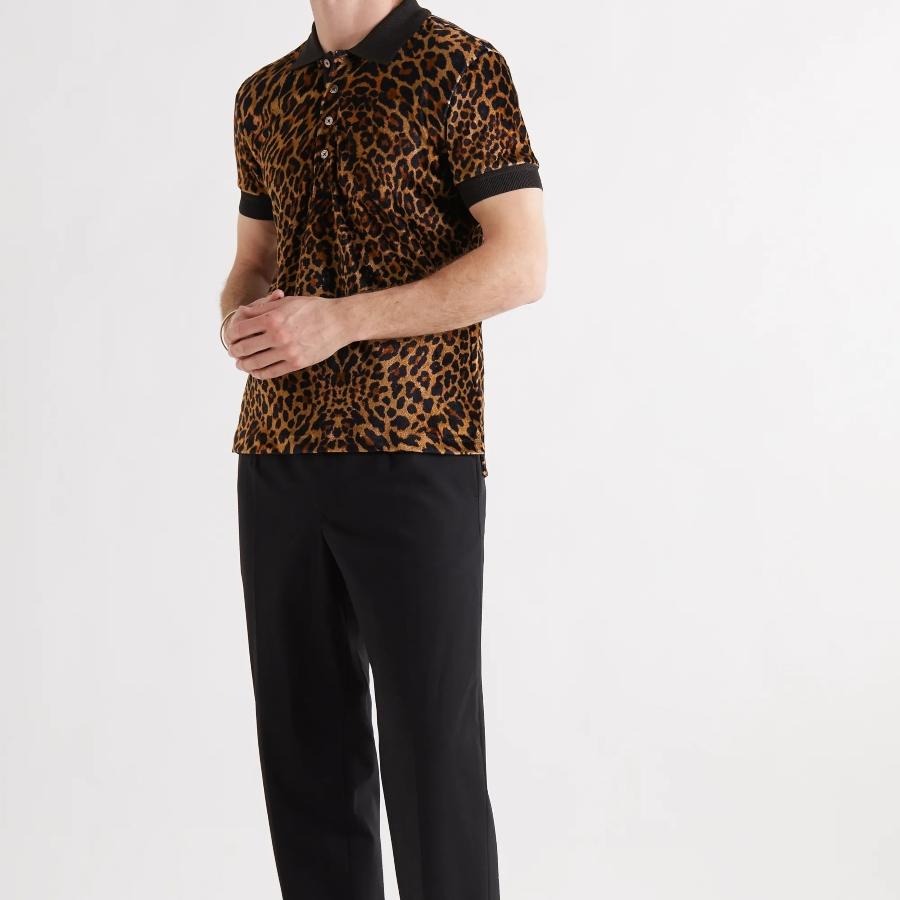 Leopard-Print Velour Polo Shirt áo polo